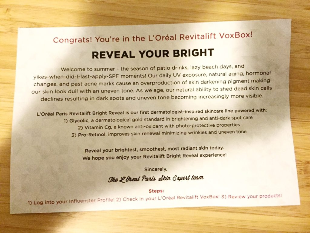 L'Oréal Paris Revitalift Bright Reveal Influenster Voxbox